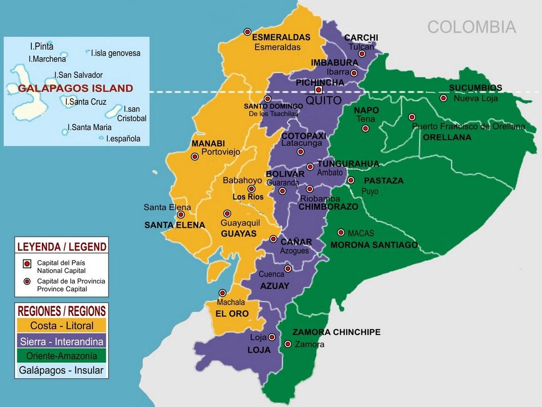 mapa del ecuador y sus regiones