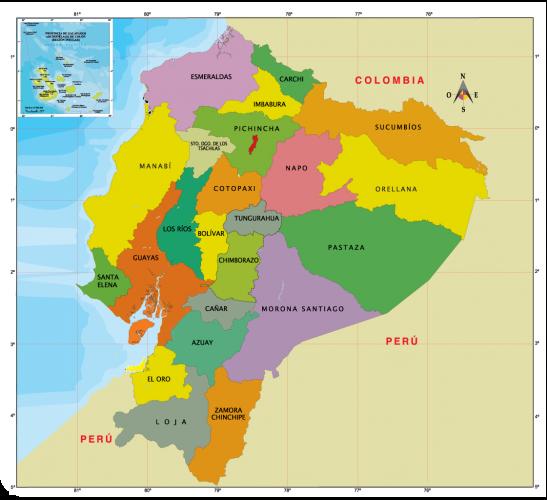Provincias region Costa ecuador