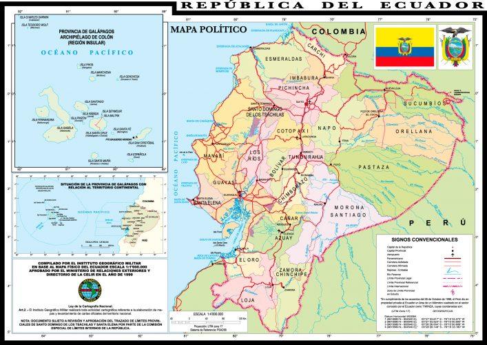 mapa del ecuador con sus provincias